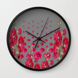 GREY RED-PINK HOLLYHOCK  LOVERS  PATTERN GARDEN Wall Clock
