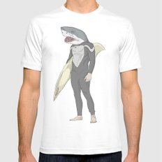 SHARK SURFER SMALL White Mens Fitted Tee