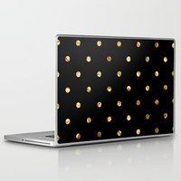 black and gold Laptop & iPad Skins featuring Black & Gold by The Wellington Boot