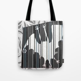 Striped Bat Tile (white, black, gray, and silver-gray) Tote Bag