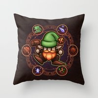 gnome Throw Pillows featuring Gnome  by likelikes