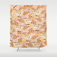 crossfit Shower Curtains featuring Poptart Gainz by IRON&EMOTION