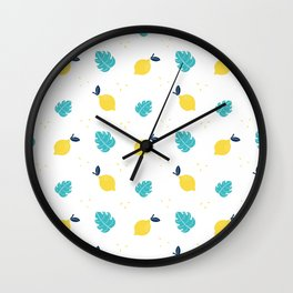 Modern sunshine yellow teal tropical cheese leaves summer fruit pattern Wall Clock
