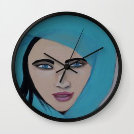 Girl in a scarf Wall Clock