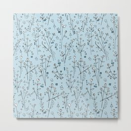 Blue, White, Black and Gray Floral Pattern Metal Print