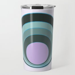 Retro circles - teal and violet palette Travel Mug