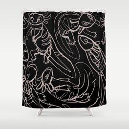 Scribbled Axolotls Shower Curtain