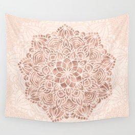 Mandala Seashell Rose Gold Coral Pink Wall Tapestry