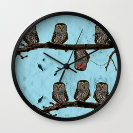 Perched Owls Print Wall Clock