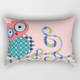 Nursery Baby Infant Kids Home Decor Modern Graphic Design Furniture Colorful Bird Owl on a Branch Rectangular Pillow