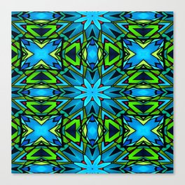 Blue and Green Stained Glass Canvas Print