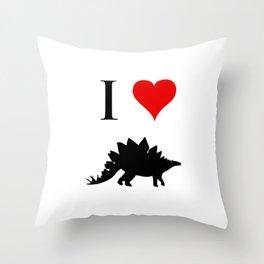 I Love Dinosaurs - Stegosaurus Throw Pillow