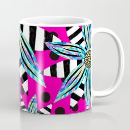 Pinwheel Flowers on Hot Pink Coffee Mug