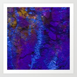 Purple Blue abstract marble Art Print