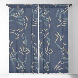 Bamboo Leaves / Denim  Blackout Curtain