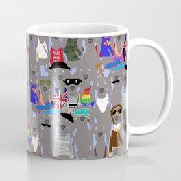 Big Dog Weim Nation Grey Ghost Weimaraner Hand-painted Pet Pattern on Blue Coffee Mug