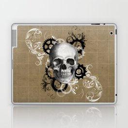 Skull With Gears and Floral Ornaments Laptop & iPad Skin
