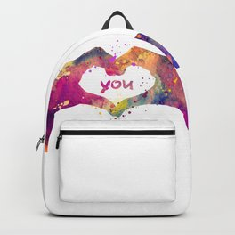 Heart Watercolor Art Print Love Hands Valentine's Day Backpack