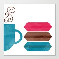 macarons Canvas Prints featuring Macarons  by Daniela Marti