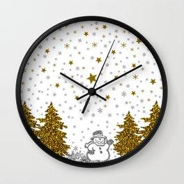 Beautiful glitter New Year on white Wall Clock