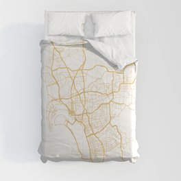 SAN DIEGO CALIFORNIA CITY STREET MAP ART Comforters