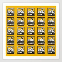 HOMEMADE YELLOW CLASSIC TV PATTERN Art Print