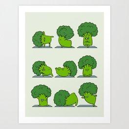 Broccoli Yoga Art Print