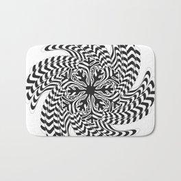 Black and White Spiral Abtsract Bath Mat