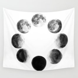 Moon Cycle Watercolor Wall Tapestry