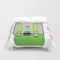 backpack Duvet Covers featuring Backpack - Flower Power by Drape Studio