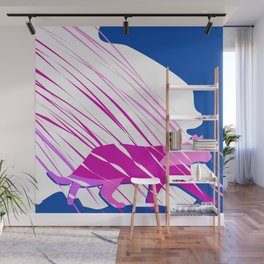 Pink Kitty Cat Strutting In Blue Fog Abstract Art Wall Mural