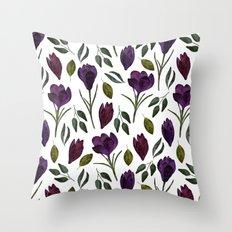 Plum Rose Garden Throw Pillow