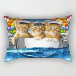Happy red cat fishing Rectangular Pillow