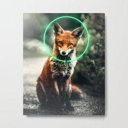 Neon Fox Metal Print