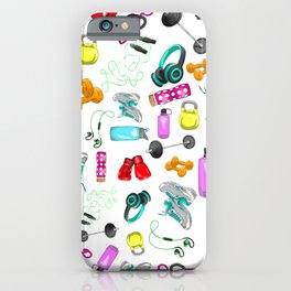 Work Out Items Pattern iPhone Case