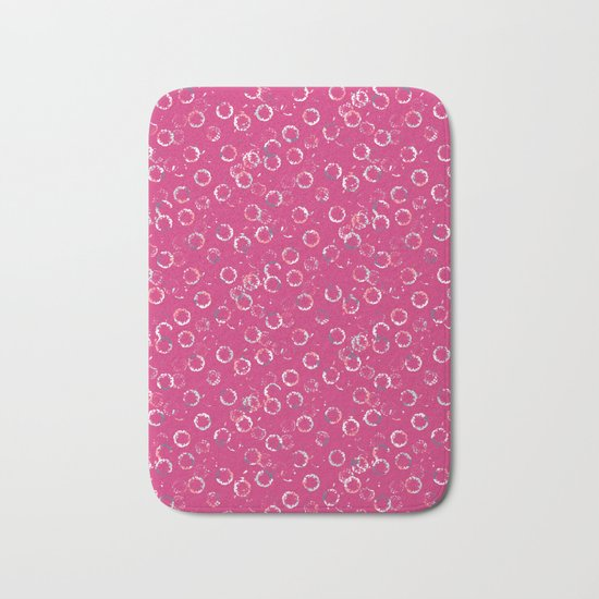 Polka Dots Stamps on Pink Yarrow Bath Mat