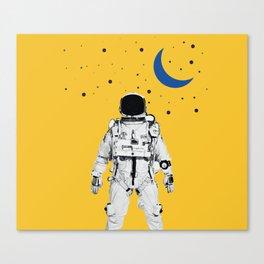 Astronaut Portrait on a Yellow Background Canvas Print