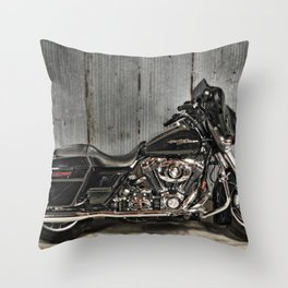 Black Harley Street Glide Throw Pillow