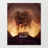 kaiju Canvas Prints featuring Kaiju by Anneliese Mak