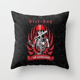 Dirt Dog Baseball Player Skeleton Throw Pillow