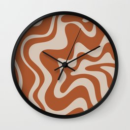 Liquid Swirl Retro Abstract Pattern in Clay and Putty Earth Tones Wall Clock