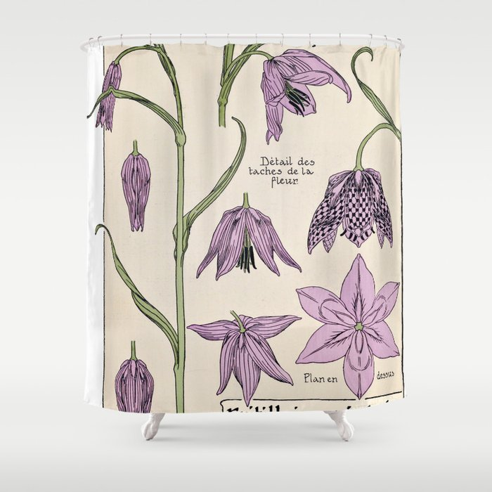 Maurice Verneuil - Fritillaire - botanical poster Shower Curtain