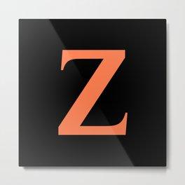 Z MONOGRAM (CORAL & BLACK) Metal Print