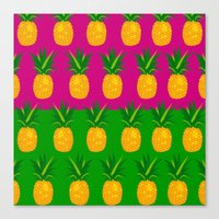 pineapples Canvas Prints featuring Pineapples by The Wallpaper Files
