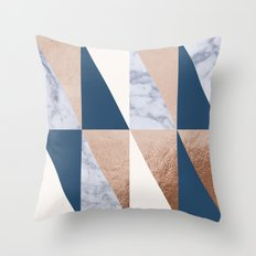 Copper Navy Marble Throw Pillow