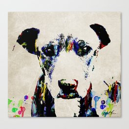 Sad Dog Art Abstract Modern Painting by Robert R Splashy Art Canvas Print