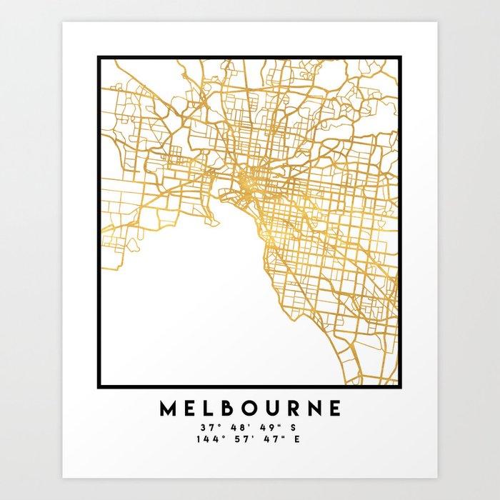 Australia Map Art.Melbourne Australia City Street Map Art Art Print