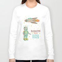 outer space Long Sleeve T-shirts featuring Robots from Outer space by Silvia Dekker