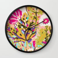 karen hallion Wall Clocks featuring Bohemian Pink Abstract Flowers by Karen Fields by Karen Fields Design