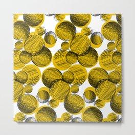 Squiggle Circle Repeat [yellow] Metal Print